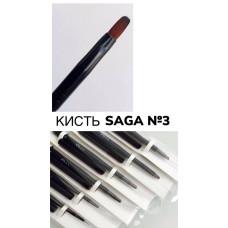 Кисть для геля овальная с колпаком Saga №3