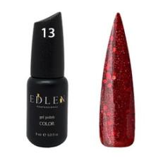 Гель-лак EDLEN №13 ( Вишнёво-красный с блёсточками) 9 мл