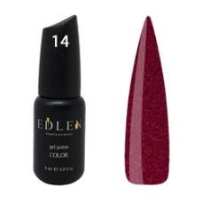 Гель-лак EDLEN №14 (Вишнёво-красный с мелкими блёсточками) 9 мл