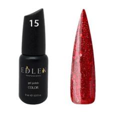 Гель-лак EDLEN №15 ( Красная эмаль с блёсточками) 9 мл